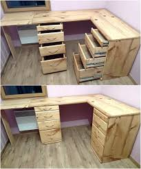 pallet office. Pallet Office Desk With Drawers 1 F