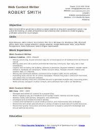 Free Resume Sample Web Content Writer Resume Samples Qwikresume
