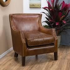 gracewood hollow maclean vintage brown leather club chair