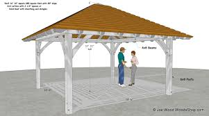Hip roof patio cover plans Roofed Patio Hip Roof Pavilion Plans Woodsshop Hiproofpavilion
