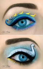 blue eyes duck eyeliner funny make up swan