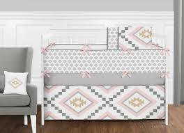 sweet jojo designs boho aztec blush pink gold grey baby girls crib bedding set 1 of 3free see more
