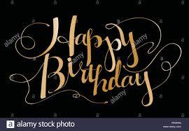 Luxury Happy Birthday Calligraphy Design Over Black Background Stock