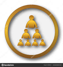 Gold Org Chart Organizational Chart With People Icon Stock Photo