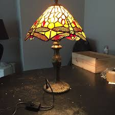 two tiffany style stained glass dragonfly table lamps