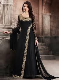 Full Length Suit Design Black Georgette Designer Floor Length Anarkali Suit 116760