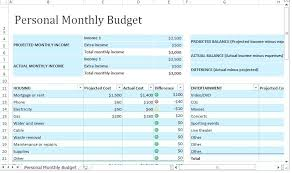 Excel Monthly Bill Tracker Personal Expense Tracking Spreadsheet Personal Monthly Budget