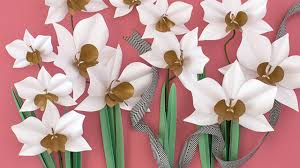 Paper Orchid Flower Make A Paper Orchid Plant Youtube