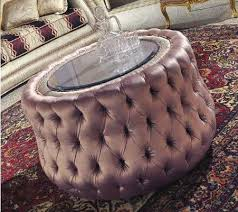 tufted round crystal glass top