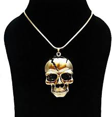 images gallery dar women s pendant necklace 18k gold plated skull