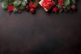 Christmas Background Christmas Background With Fir Tree And Decor Top View With
