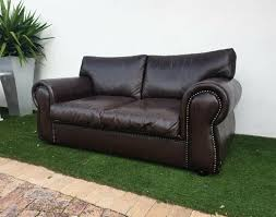gorgeous genuine leather couch full grain studded windsor sofa showroom condition pinelands
