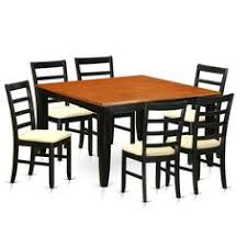 parf7 bch black cherry rubberwood kitchen dining table and 6 solid chairs set of 7 microfiber size 7 piece sets