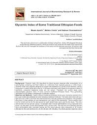 Pdf Glycemic Index Of Some Traditional Ethiopian Foods