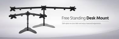triple monitor free standing desk mount 15 30 in