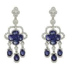 18k white gold diamond blue sapphire clover chandelier earrings