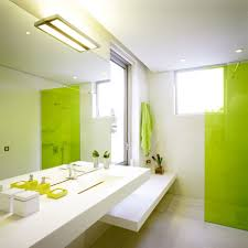 Bathroom Modern Green Bathroom Ideas And White Combine Wall Feat White  Vanity Also Large Mirror Captivating