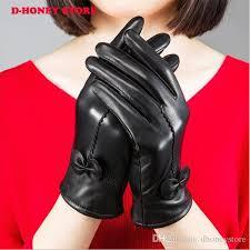 2019 warm winter women sheepskin leather gloves for women las black thickening cashmere gloves female fleece lined mittens from dhoney