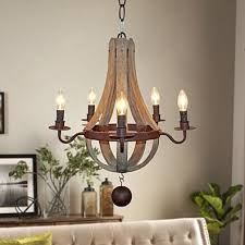 farmhouse distressed 5 light candle wooden chandelier antique wood