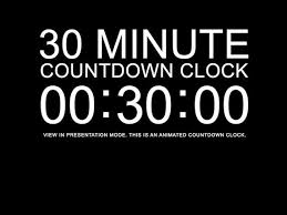 Countdown Clock For Powerpoint Presentation 30 Minute Black Countdown Clock Presentation Powerpoint Slide Etsy