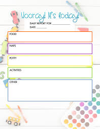Free Day Care Free Daycare Daily Report Child Care Printable The Diy