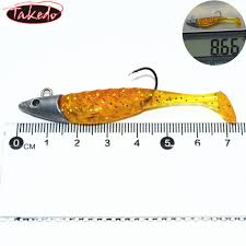 Lighted Jig Heads Takedo Fishing Bait Ld06 7 5cm 9g Maggots Fish Scale Body Bass Lures Musky Lead Jig Head With Silicone Soft Plastic Lures