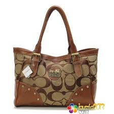 Coach Stud Signature Medium Camel Satchels In