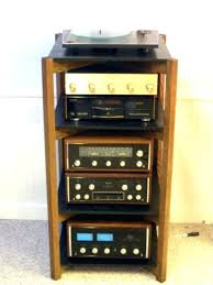 small stereo cabinet wood audio with glass doors oak