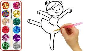 Vẽ và tô màu Em Bé Múa Ballet, Bé học vẽ tranh và tô màu