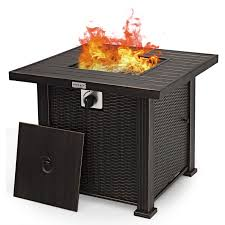 Amazon Com Giantex Gas Fire Pit Table 30 Inch 50 000 Btu Auto Ignition Propane Fire Pit Outdoor With Lid Lava Rocks And Waterproof Cover 2 In 1 Fire Table With Csa And Etl Certification Brown Garden