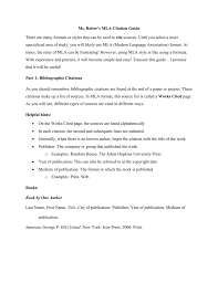 Ms Reiters Mla Citation Guide There Are Many Formats Or Styles