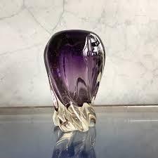murano glass vase spiral purple form mid 20th century 0