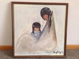 24 x 24 framed oil painting of indian mother and child navajo mother signed by the artist degrazia