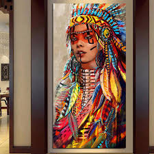 wall art native american indian girl feather woman portrait canvas painting for living room home decor