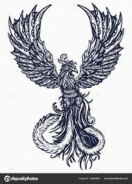 магия тепла птицы татуировки и футболку дизайн символ возрождения