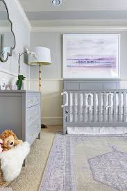 wall art in lavender for a gray nursery room
