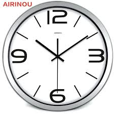 wall clock for office. Clocks For Office Airinou Circle Round Large Brief Black Metal Frame Men Women Home Family Simple Wall Clock Sale