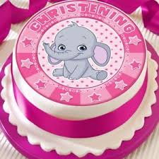 Baby Elephant Christening Baby Girl Pink Precut Edible Birthday Cake