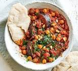 aubergine  eggplant   courgette and chickpea stew