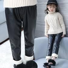 winter leggings for girls children faux leather leggings black velvet girls pants skinny thick warm fleece trouser 3 4 6 8 years kids pants on casual