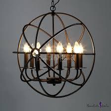 metal globe industrial led orb chandelier in black with cage 8 light floor lamp