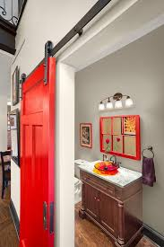 Bathrooms: Bathroom Door Adds Vivacious Red To The Setting - 15 ...