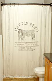 The Cozy Old Farmhouse Painter S Dropcloth Becomes Diy Grain Cowhide Print Shower Curtain