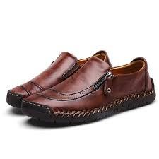 menico comfy hand stitching slip on leather oxfords at Banggood