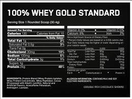 optimum 100 wheygold standard nutritional info