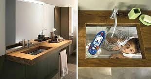 wood sink basin this bathroom sink was designed with a transpa glass bottom wood wash basin wood sink basin