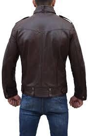 strap pocket dark brown mens slim fitted leather jacket