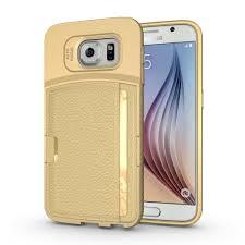 samsung galaxy s6 gold case. wholesale samsung galaxy s6 edge credit card fiber hybrid case (champagne gold) gold s