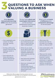 Questions To Ask Business Owners 3 Questions To Ask When Valuing A Business Infographic