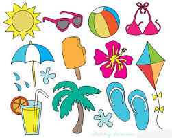 Summer Icons Summer Clip Art Colorful Summer Icons Line Art Summer